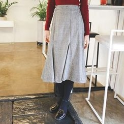 mimi&didi - Godet-Hem Glen-Plaid Midi Skirt