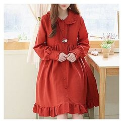 Sechuna - Frill-Trim Pintuck Dress
