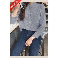 MICHYEORA - Mandarin-Collar Striped Shirt