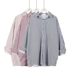 Momewear - Long-Sleeve Oversized Striped Shirt