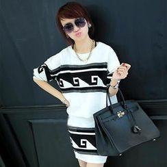Chameleon Girl - Set: Print Sweater + Knit Skirt
