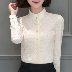 Cottony - Lace Trim Blouse