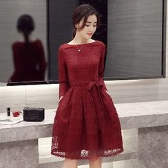 Romantica - Long-Sleeve Tie-Waist Dress