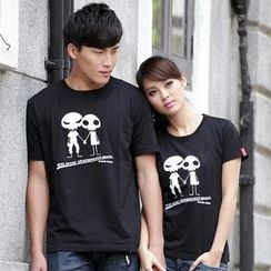 Porspor - Short-Sleeve Alien Print Couple T-Shirt