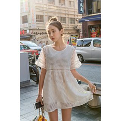 migunstyle - High-Waist Eyelet-Lace Mini Dress