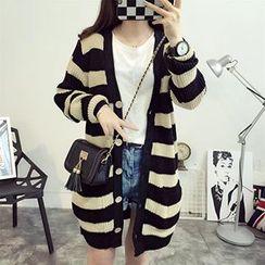 FR - Stripe Chunky Knit Long Cardigan