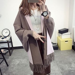 FR - Fringe Hem Color Block Poncho