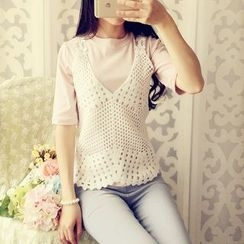 Cobblestone - Set: T-Shirt + Crochet Sleeveless Top