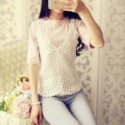 米蟲の小屋 - 套裝: T恤 + 鉤織無袖上衣