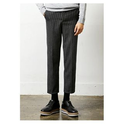 HOTBOOM - Pinstriped Wool Blend Cropped Dress Pants