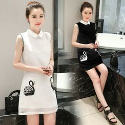 Ekim - Embroidered Collared Sleeveless Dress
