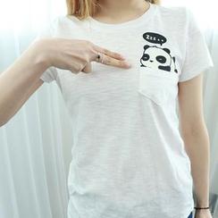 Dodostyle - 熊貓印花圓領T恤