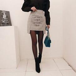 DABAGIRL - Cutout-Hem Lettering Wool Blend Mini Skirt