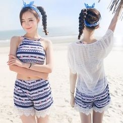 Thein - Set: Patterned Bikini + Cover-Up + Shorts