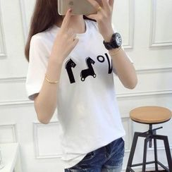 anzoveve - Print Short-Sleeve T-Shirt