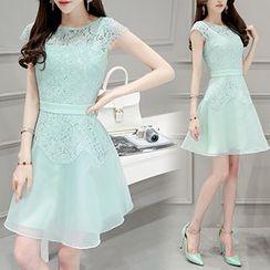 Ashlee - Cap Sleeve A-line Lace Panel Organza Dress