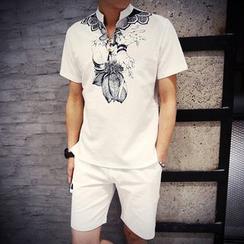 Hawoo - 短袖印花马球衫短裤套装