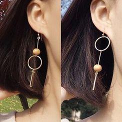 Calypso - Non-matching Wooden Bead Earrings / Ear Cuffs
