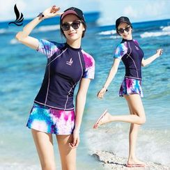 SANQI - Set: Short Sleeve Rashguard + Swim Skirt