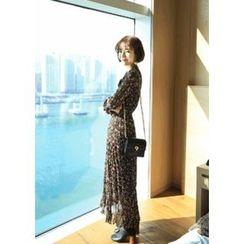 ssongbyssong - Tie-Front Floral Print Long Dress