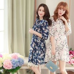 Tokyo Fashion - Floral Print Tie-collar Dress