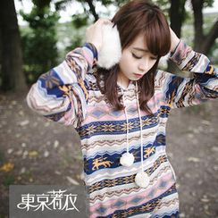 Tokyo Fashion - Nordic-Pattern Hooded Knit Pullover Dress