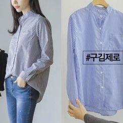 JUSTONE - Mandarin-Collar Stripe Wrinkle-Free Shirt