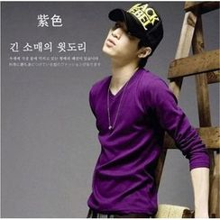 uninukoo - Plain V-neck Long-Sleeve T-shirt