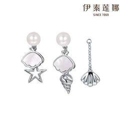 伊泰蓮娜 - 施華洛世奇元素貝殼耳環