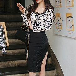 ISMY - Set: Leopard Print Long Sleeve Top + Side Slit Pencil Skirt