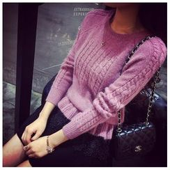 Sienne - Ruffle Hem Cable Knit Sweater