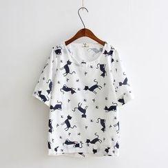 Vateddy - Cat Print Short Sleeve T-Shirt