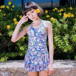 Zeta Swimwear - Halter Floral Print Tankini