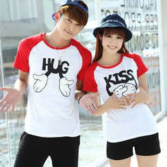 Igsoo - Couple Matching Print T-Shirt