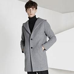 HEIZE - Plain Hooded Long Woolen Coat