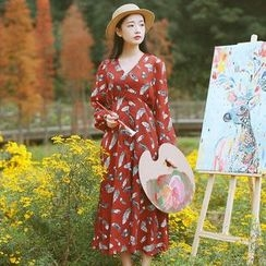Sens Collection - Feather Print Long Sleeve Midi Dress