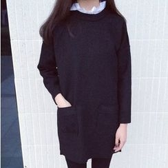 Fashion Street - Mock Two Piece Long Sleeve Dress