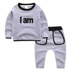 DEARIE - Kids Set: Lettering Pullover + Sweatpants