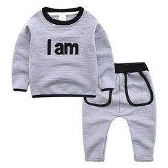 DEARIE - 兒童套裝: 印字套衫 + 運動褲
