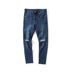Chuoku - Distressed Washed Slim Fit Jeans