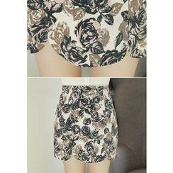 MyFiona - Rose Pattern Mini Skirt