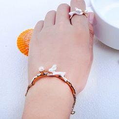 Cheermo - Rabbit Faux Pearl Ring / Bracelet / Hair Pin