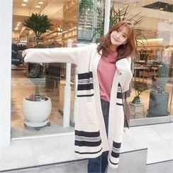 Styleberry - Open-Front Contrast-Trim Long Cardigan