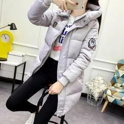 Heybabe - Patch Embroidered Hooded Long Padded Coat