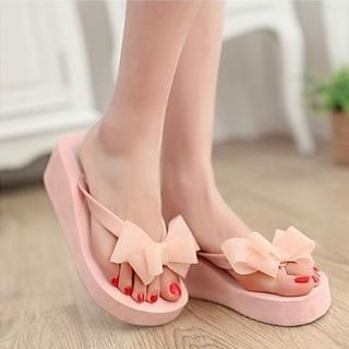 JY Shoes - Bow-Accent Wedge Flip-Flops