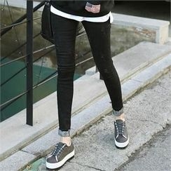 CHICFOX - Embroidered Cuff Skinny Pants