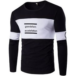 Fireon - Lettering Two-Tone Long-Sleeve T-Shirt