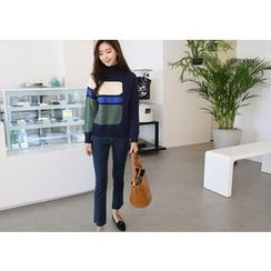 Hello sweety - Turtle-Neck Color-Block Sweater