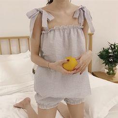 Dute - Pajama Set: Plaid Tie Strap Tank Top + Shorts
