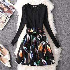 Rainbeam - Long-Sleeve Printed Pleated Dress